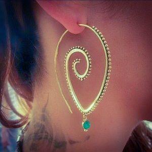 Gold Turquoise Gem Spiral Swirl Boho Earrings